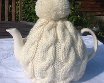 Aran knitted tea cosy - fits 6-8 cup tea pot