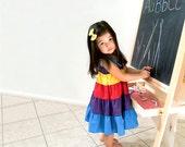 Babydoll Sundress, Color Block Dress, Shirred Sundress, Maxi Skirt, Size 1T to 8, Hawaiian Punch, Summer Dress Back to School