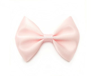 Baby Pink Hairbow, 3 Inch Satin Bow, Basic Hairbow, Satin Tuxedo Bow, Girls Hair Bow, Blush Pink
