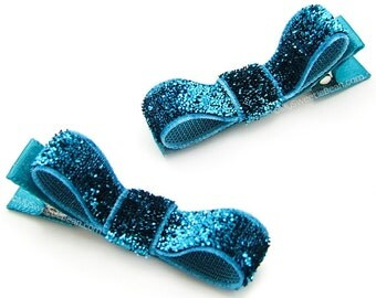 Turquoise Glitter Hair Clips, Glitter Tuxedo Bows, Shiny, Glam, Baby Girls Toddler Hair Clips, One Pair Glitter Clips for Toddlers