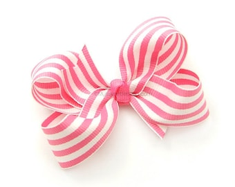 Pink Striped Boutique Bow 3 inch Hair Bow Hot Pink and White Preppy Nautical Stripe Cotton Candy