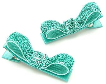 Aqua Hair Clips, Aqua Glitter Tuxedo Bows, Sparkly, One Pair Glitter Clips, Aqua Glitter Hair Bows, Baby Toddler Girls