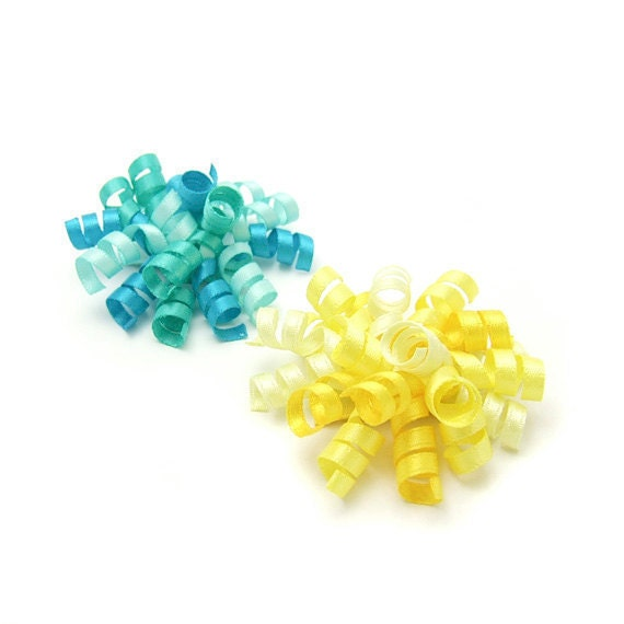 Pick 2 Mini Korkers, Baby Korker Bows, Satin Korker Barrettes, Baby Toddler Girl, Choose Color, Aqua and Yellow