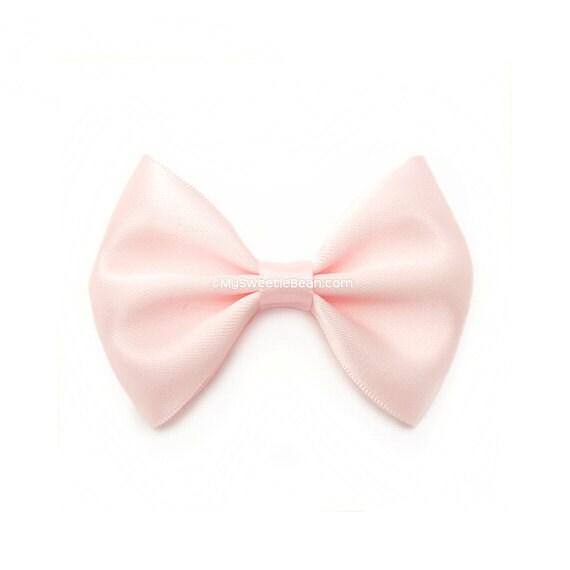 Baby Pink Hairbow, 3 Inch Satin Bow, Basic Hairbow, Satin Tuxedo Bow, Girls Hair Bow, Blush Pink