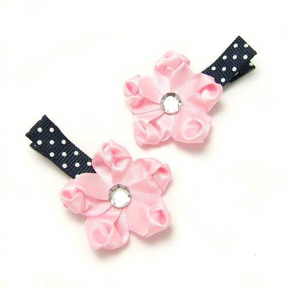 Pink and Navy Hair Clips, Pink Satin Flower Clip, White Polka Dots, Nautical, Baby Toddler Girl