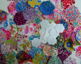 Liberty Lawn fabric hexagon starter pack - 100 Liberty tana lawn die cut hexagons and papers