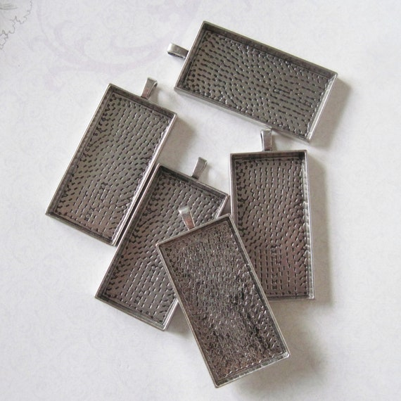 5 large silver rectangle pendant blanks 47mm x 23mm by