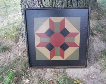 PriMiTiVe Hand-Painted Barn Quilt, Small Frame 2' x 2' - Prosperity Pattern
