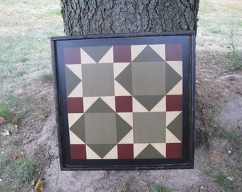 PriMiTiVe Hand-Painted Barn Quilt, Small Frame 2' x 2' - Road To California Pattern