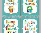 Kids wall art- Boys Bathroom prints-print set