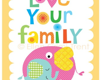 Kids Wall Artt- Love your family- typography print