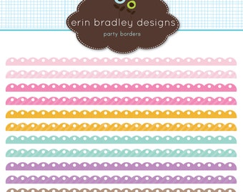 Digital Scrapbook Embellishments Personal & Commercial Use Scalloped Borders Instant Download