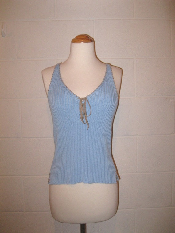 Sale - Vintage Tank Top / Sky Blue / Sleeveless Shirt / BOHO Fashion / S / M