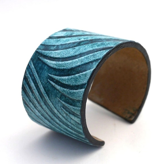 Cobalt Wave  - Wide Angled Textured Cuff Bracelet