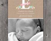 Custom Monogram - Custom Photo Baby Birth Announcement GIRL