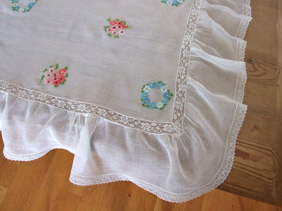 French Vintage embroidered tablecloth decorative white with embroidered flowers, ruffle and lace, etheral and delicate