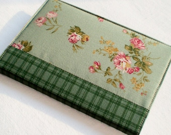 Fabric Journal Cover - Green Garden - A6 Notebook, Diary - Pink Roses and Flowers With Green Plaid