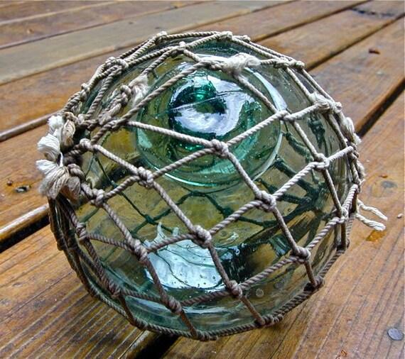 Glass Fishing Float Japanese Collectible, Star Portal GRAPEFRUIT Size, Nautical, Ocean, Sea, Beach Cottage Decor, Maritime, Fishing Decor