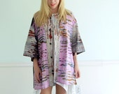 Rainbow Tie Dye Mixed Oversize Embroidered Vintage 80s 90s Shirt Top OSFM