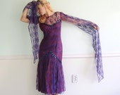 Purple Lace Witch Vampire Maxi Dress - Vintage 80s - XS S - Gunne Sax - Bombshell Costume Gown