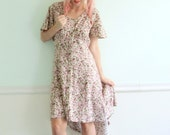 Rose Floral Hi Low Hem Vintage 90s Fishtail Dress - Flutter Sleeve - MEDIUM M