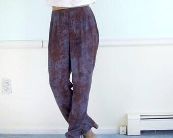 Magic Eye Vintage 80s Marble Printed High Waist Boho Trouser Pants S M