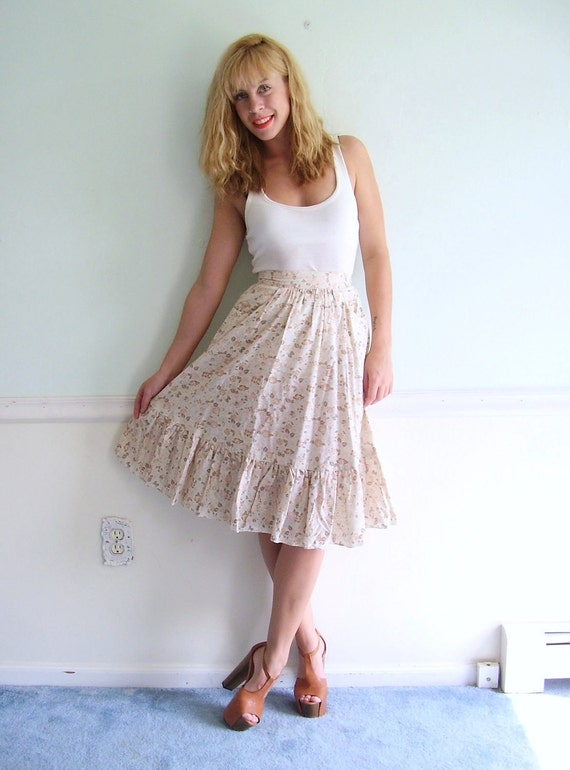 Prairie Floral Vintage 70s High Waist Printed Tiered Boho Skirt XS