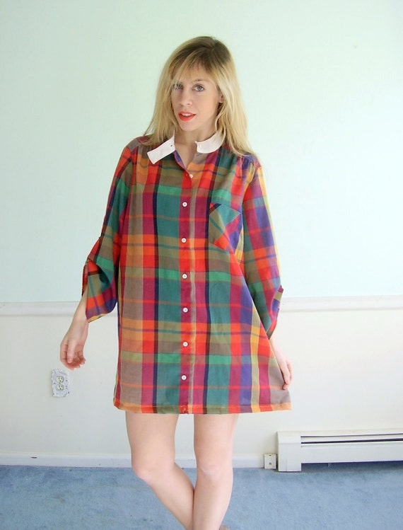 Colored Pencil Plaid Vintage 70s LS Printed Mini Shirt Dress Tunic LARGE L Petite P