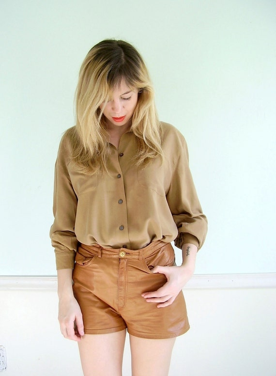 Nutwood Brown Vintage Early 90s LS Silk Button Down Blouse Shirt LARGE L
