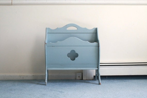Wooden Magazine Rack Antique 1940s Robins Egg Blue Scalloped Cut Out Organizer