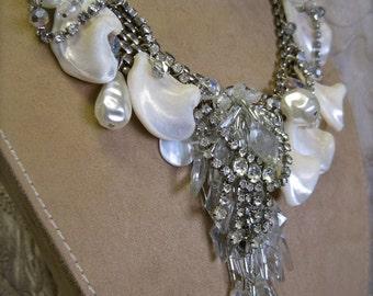 BEACH WEDDING Siren of the Seven Seas: Mermaid Choker Vintage Assemblage Necklace Bridal Bling Shells Undersea Statement One of a Kind ooak
