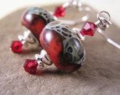 Crimson Red Lampwork Earrings, Crimson Tide Boro Glass Lampwork Earrings, Red Fashion Earrings, Lampwork Glass Earrings, Gift