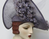 ON SALE/ Heliotrope Hat with Faux Ostrich Fabric Feathers