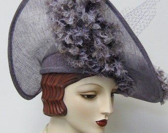Heliotrope Hat with Faux Ostrich Fabric Feathers