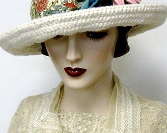 Organic Cotton Crochet Breton Hat/Cream