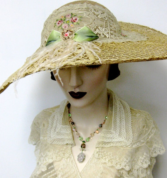 RESERVED for Laura/ Edwardian Inspired Garden Party Hat