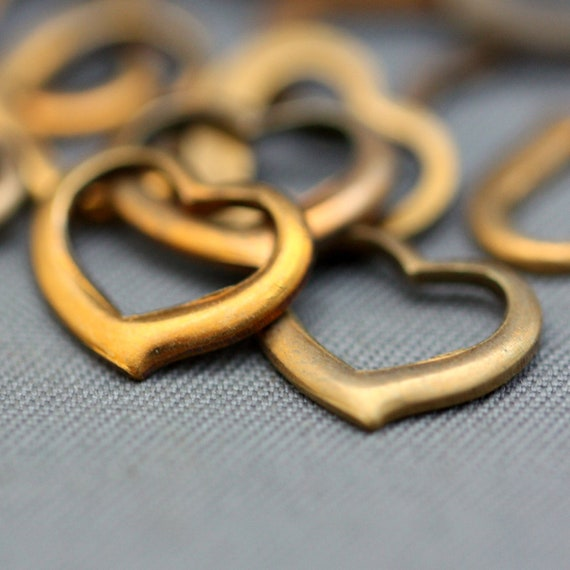 16 Vintage Raw Brass Heart Charm Findings 10mm