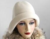 Cloche Hat- Ivory Wool- Women- Winter Hat- Winter Accessories