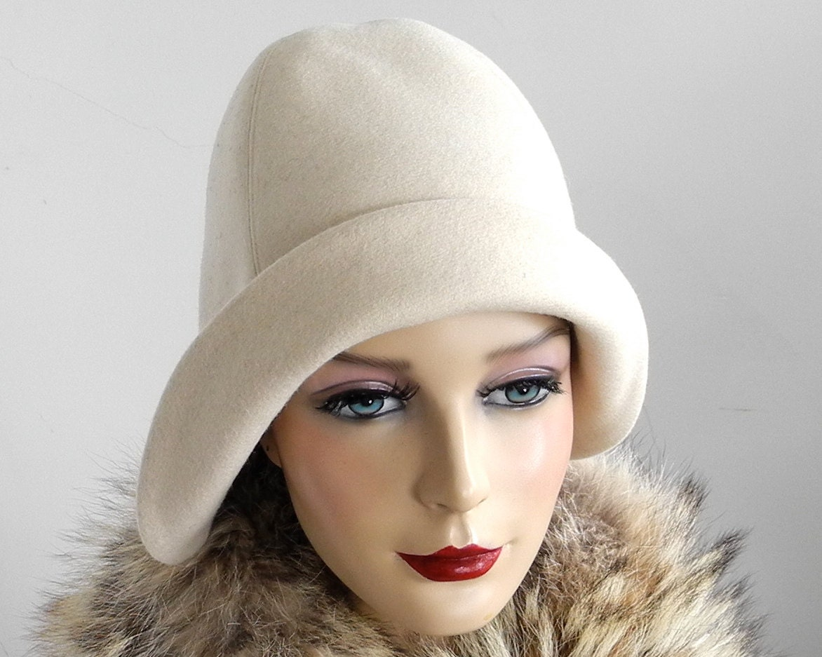 Cloche Hat Ivory Wool Women Winter Hat Winter by KatarinaHats