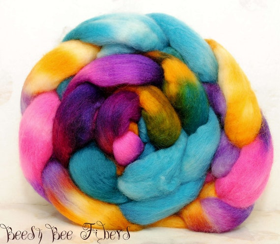 Blue Face Leicester Wool Roving Hand Painted Combed Top Spinning or Felting Fiber  - 4.4 oz - PAPEL PICADO