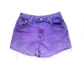 90's Calvin Klein Cutoff Shorts M/L Purple Ombre Dyed CK Denim Shorts Cutoffs