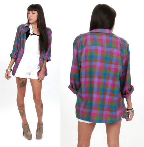 70's Tartan Bold Plaid Oversized Flannel M/L Button Down Pink Purple Shirt