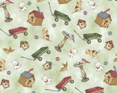 fabric Paper Doll House Outside Toys | premium quilting cotton | sewing | dollhouse fabric | wagon | doghouse | birdbath | chihuahua dog