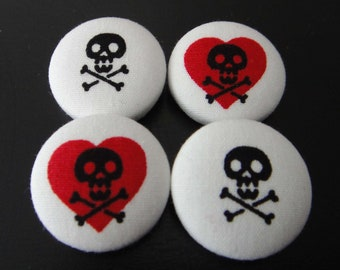 Cute Skull And Crossbones With Red Hearts White Japanese Fabric Covered Buttons For Sewing - Set of 4 - 22mm