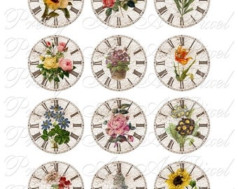 Time to Smell The Flowers - Clocks & Flowers - INSTANT DOWNLOAD - Two Inch Circles - For Pendants Magnets - Crafts - Digital Collage Sheet
