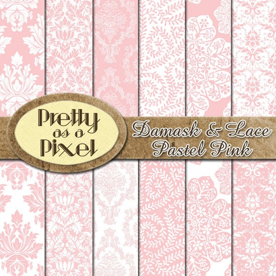 Damask & Lace - Pastel Pink - Digital Paper Pack - INSTANT DOWNLOAD - Scrapbooking Backgrounds - 12 x 12 - Set of 12