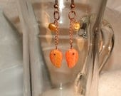 Dangle Pierced Earrings With Gorgeous Czech Fire Leaf Beads and Rose Colored Chain