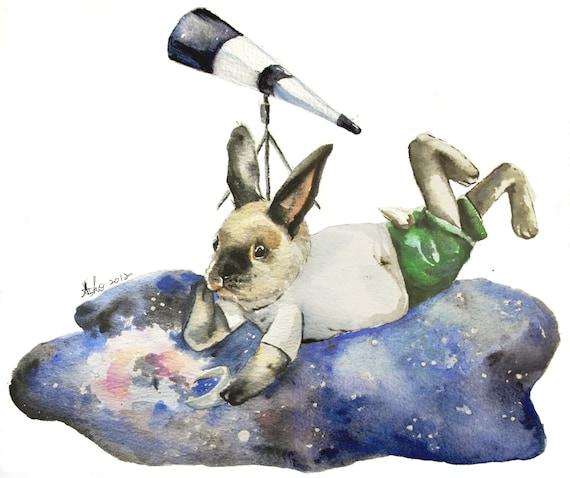 Original Watercolor Rabbit Painting 8X10, rabbit art, Galaxy, Deep Space, Star