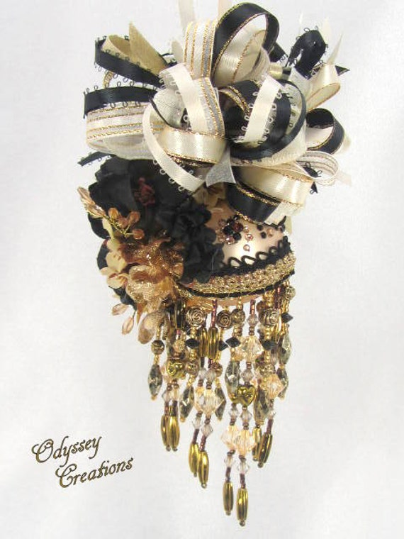 Ebony, Ivory and Gold Victorian Beaded Ornament with Swarovksi Crystals