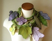 RESERVED- Long and Leafy Scarf with Embroidered leaves- Asparagus Green with Plum and Purple Berries-  Payment no. 1